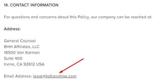 Berkshire Hathaway Privacy Policy: Contact Information clause