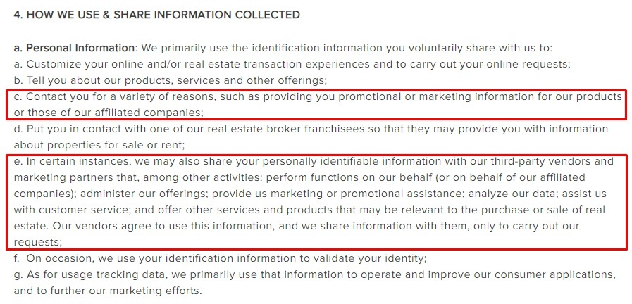 Berkshire Hathaway Privacy Policy: How We Use and Share Information Collected clause excerpt