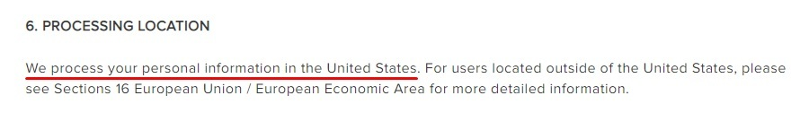 Berkshire Hathaway Privacy Policy: Processing Location clause