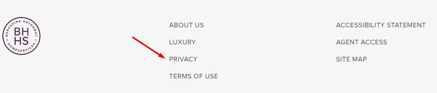 Berkshire Hathaway website footer with links and Privacy Policy highlighted