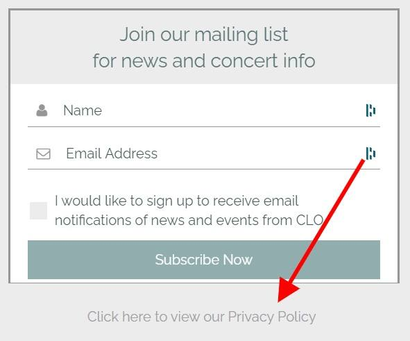 Central London Orchestra mailing list subscribe form with Privacy Policy link highlighted