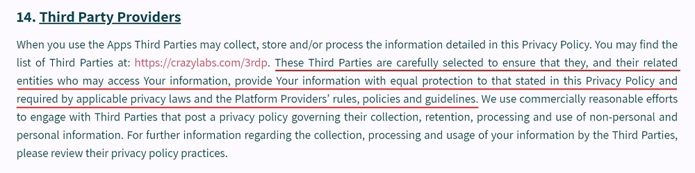 Crazy Labs Apps Privacy Policy: Third Party Providers clause