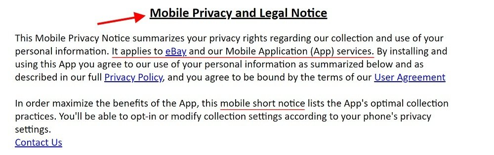 eBay Mobile Privacy and Legal Notice - Intro section