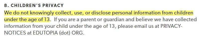 Edutopia Privacy Policy: Childrens clause