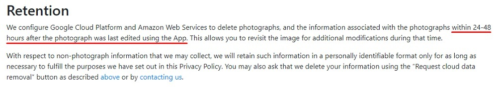 FaceApp Privacy Policy: Retention clause