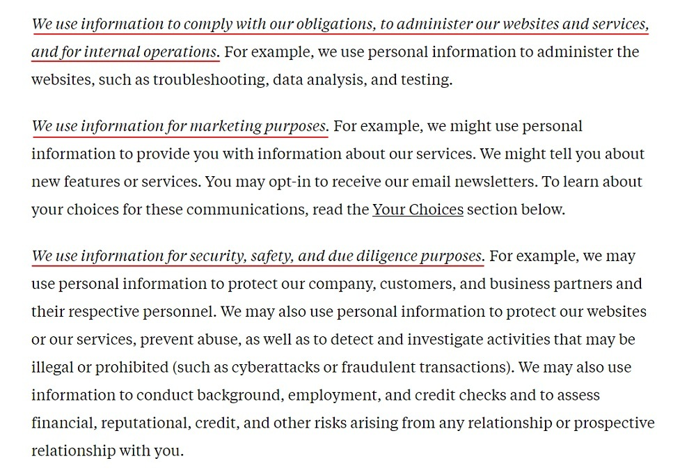 Flipboard Privacy Policy: How We Use Your Information clause excerpt