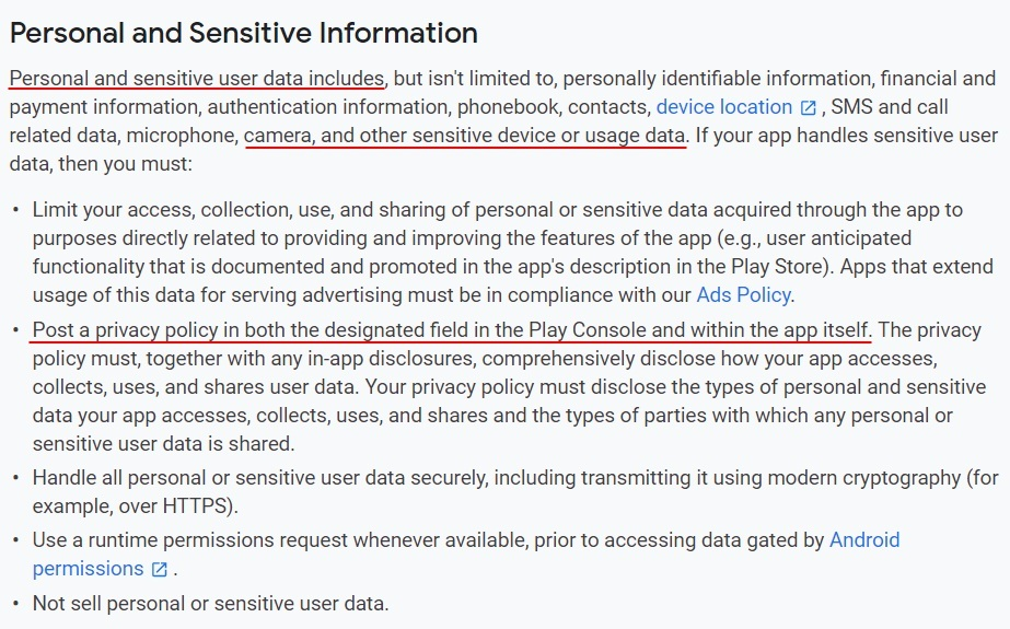 Google Play Console Help: User Data - Personal and Sensitive Information section