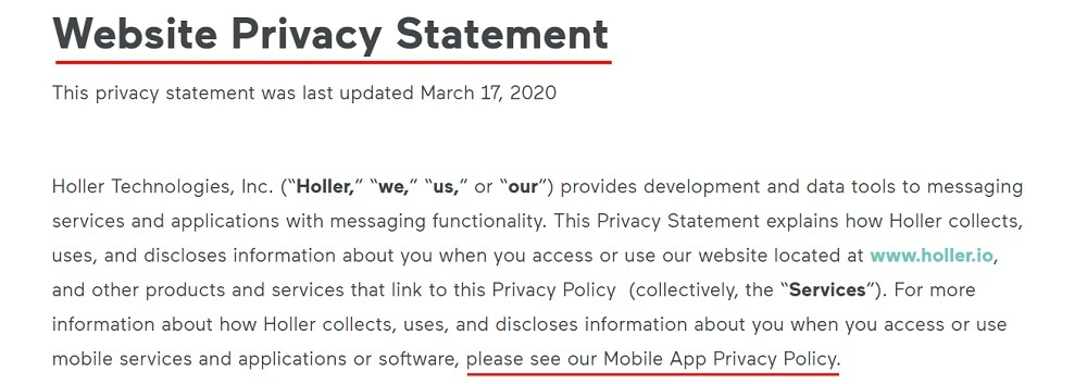 Holler Website Privacy Statement: Intro clause with Mobile App Privacy Policy highlighted