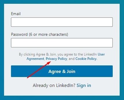 LinkedIn create account form