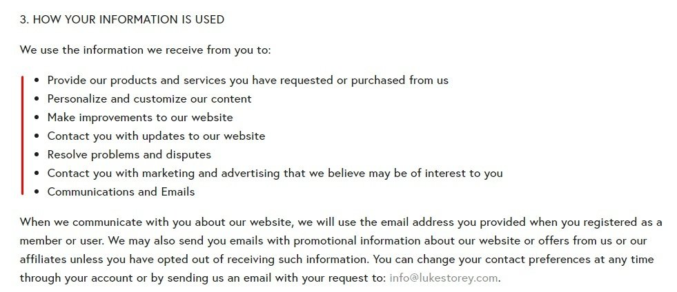 Luke Storey Privacy Policy: How Your Information is Used clause