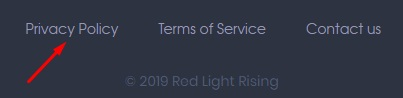 Red Light Rising website footer with Privacy Policy link highlighted