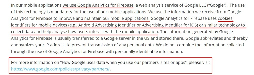 ResApp Health Privacy Policy: Type of Information we Collect clause - Mobile app use of Google Analytics and cookies section