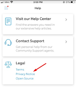 Ring app Help menu with Privacy Notice highlighted