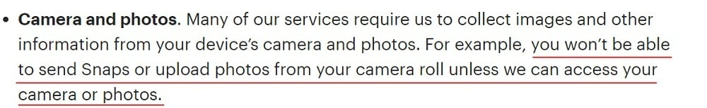 Snap Privacy Policy: Information we collect - Camera and photos - use and access explained