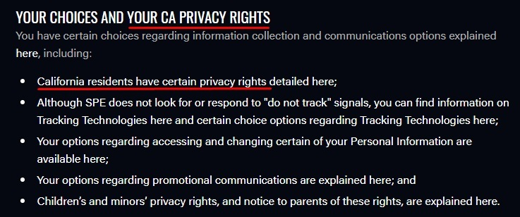 Sony Pictures Privacy Policy: Overview section - California Privacy Rights and Choices