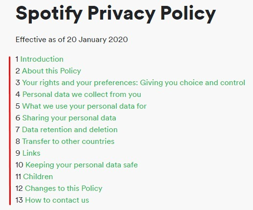 Spotify Privacy Policy Table of Contents updated