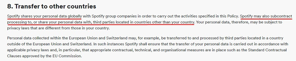 Spotify Privacy Policy: Transfer to other countries clause