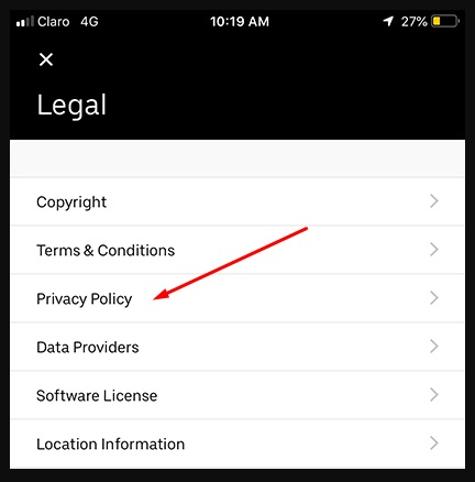 Uber app Legal menu with Privacy Policy link highlighted