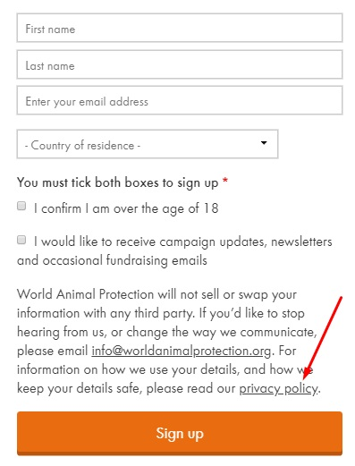 World Animal Protection email newsletter sign-up form