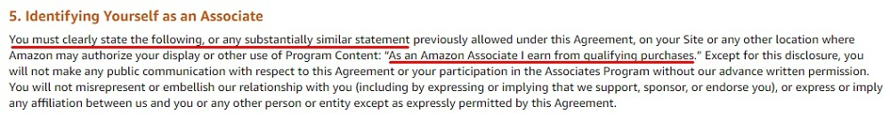 Amazon Associates Operating Agreement: Identifying Yourself as an Associate - Disclaimer requirement highlighted