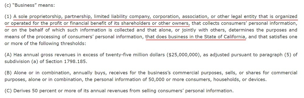 California Legislative Information: CCPA - Definition of Business