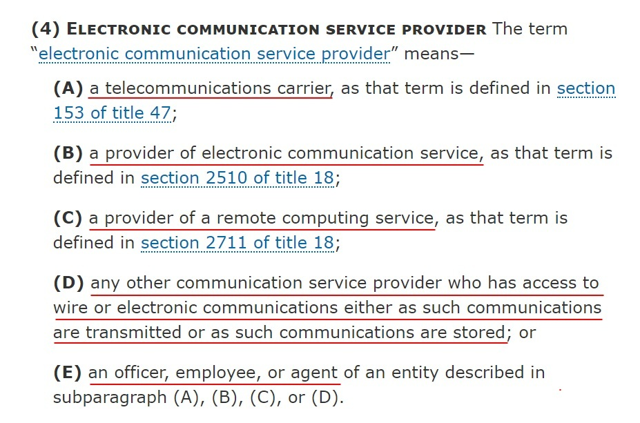 Cornell Law School LII: 50 U.S. Code Section 1881 Definitions - Definition of Electronic Communication Service Provider