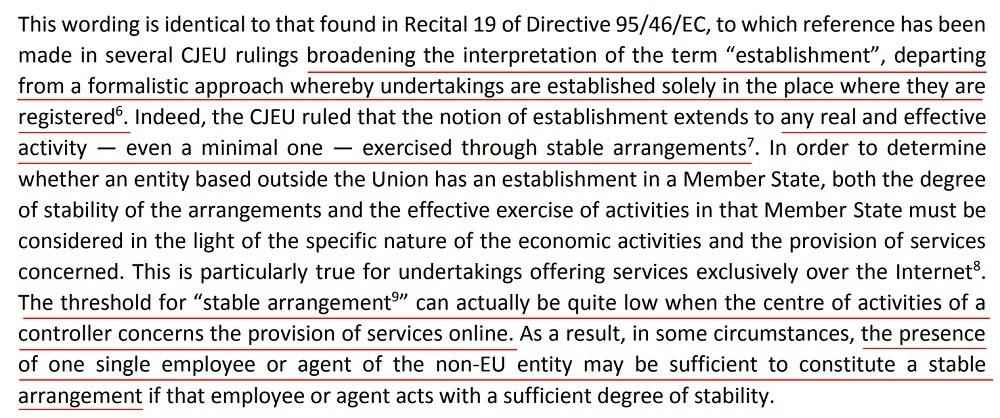 EDPB Guidelines on the Territorial Scope of the GDPR: Recital 19 interpretation of establishment