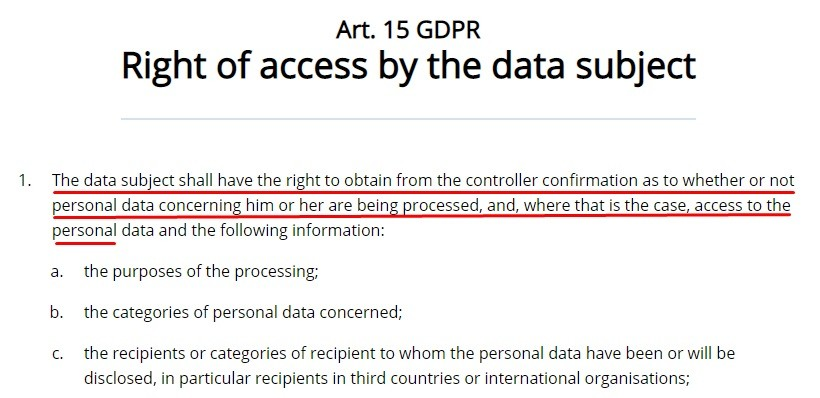 GDRP EU: Article 15 - Right of access by the data subject - Excerpt