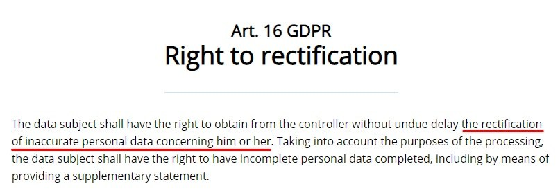 GDPR EU: Article 16 - Right to rectification