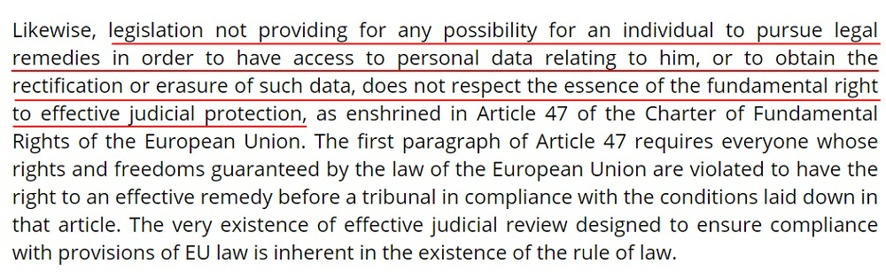InfoCuria Case-Law: Maximillian Schrems v Data Protection Commissioner - Legislation not providing remedies does not respect fundamental right section