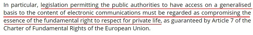 InfoCuria Case-Law: Maximillian Schrems v Data Protection Commissioner - Public authority access compromising the fundamental right to respect for privacy section