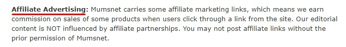Mumsnet Terms of Use: Affiliate Advertising clause