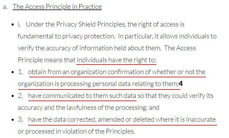 Privacy Shield Framework: Access to Principle in Practice section