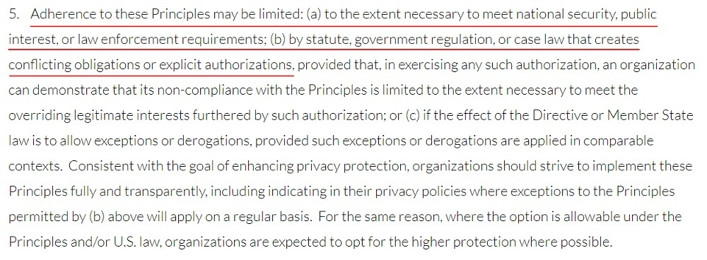 Privacy Shield Framework Overview: Section 5