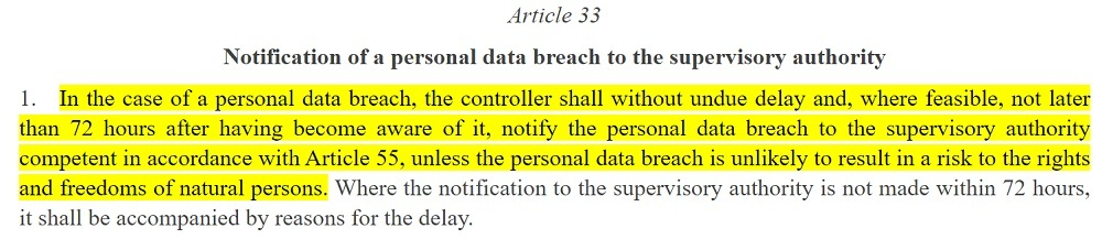 EUR-Lex: GDPR Article 33 section 1 - Notification of a personal data breach to the supervisory authority