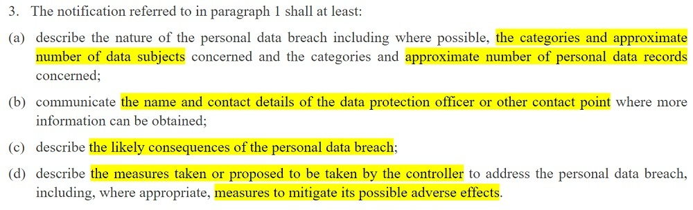 EUR-Lex: GDPR Article 33 section 3 - Notification of a personal data breach to the supervisory authority
