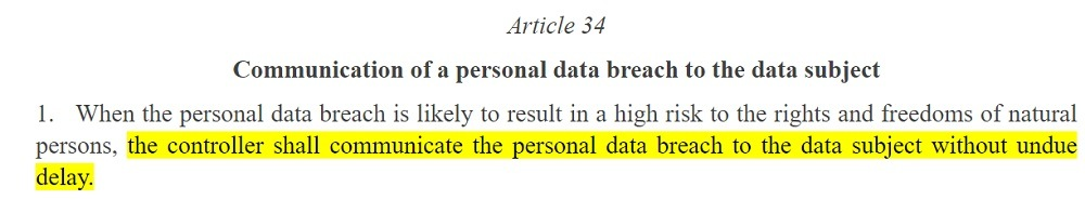 EUR-Lex: GDPR Article 34 section 1 - Communication of a personal data breach to the data subject