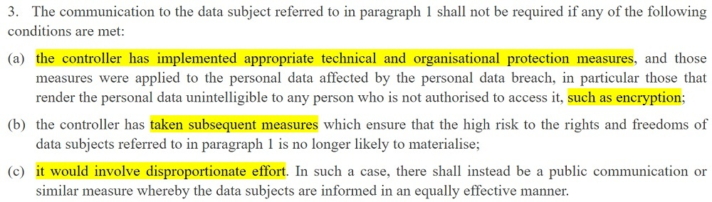 EUR-Lex: GDPR Article 34 section 3 - Communication of a personal data breach to the data subject