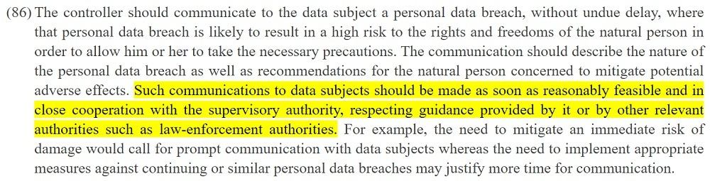 EUR-Lex: GDPR Recital 86: Communications made reasonably feasible section highlighted
