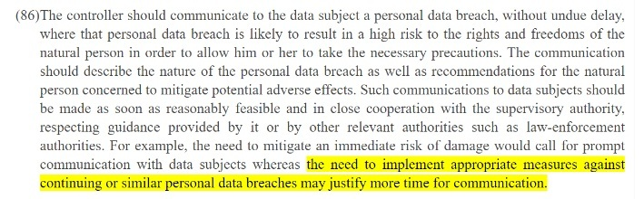 EUR-Lex: GDPR Recital 86: Need to implement appropriate measures section highlighted