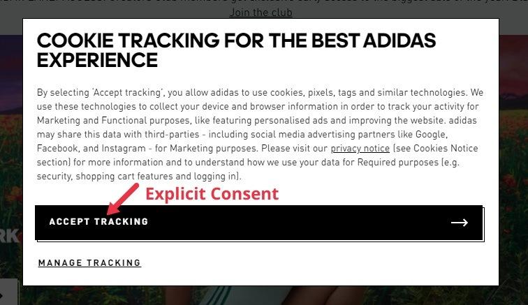 Adidas UK cookie wall