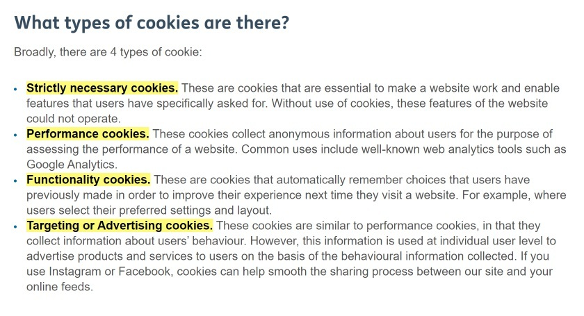 Age UK Cookie Policy: What types of cookies are there clause