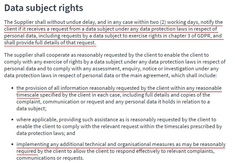 Amiqus DPA: Data subject rights clause