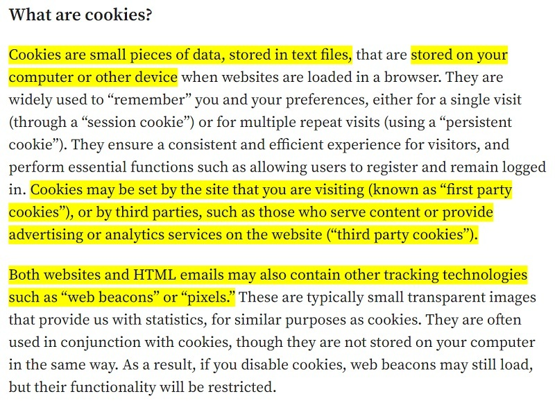 Automattic Cookie Policy: Definition of a cookie clause