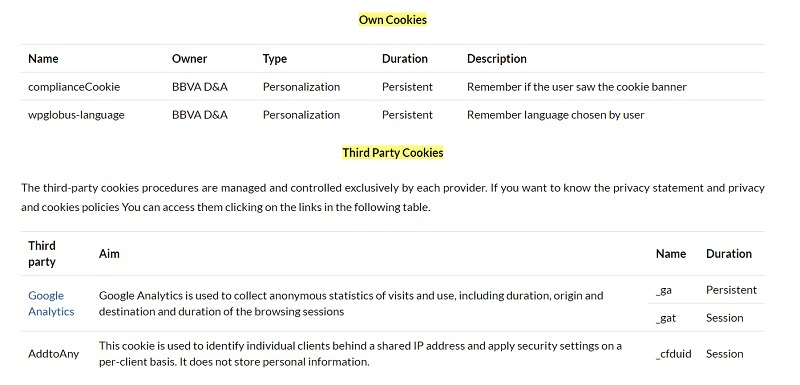 BBVA Cookies Policy: Own Cookies and Third Party Cookies lists
