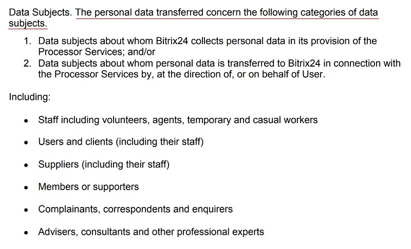 Bitrix24 DPA: Appendix 1 - Subject Matter and Details of the Data Processing Subject Matter - Data Subjects section