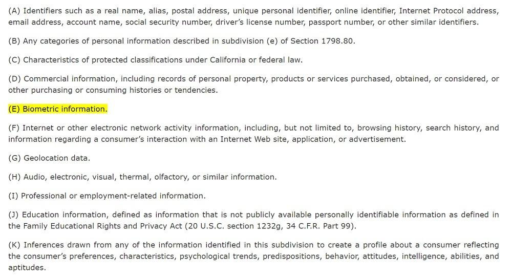 California Legislative Information: CCPA Section 1798 140 o 1 E - Biometric information