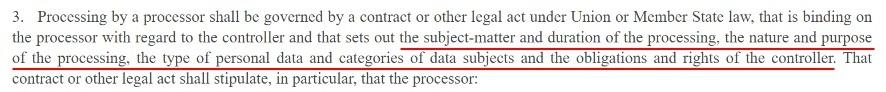 EUR-Lex GDPR Article 28 Section 3: Introduction section