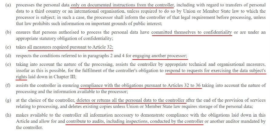 EUR-Lex GDPR Article 28 Section 3