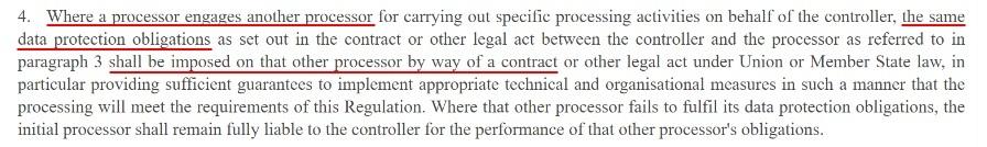 EUR-Lex GDPR Article 28 Section 4